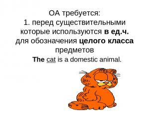OA требуется: 1. перед существительными которые используются в ед.ч. для обознач