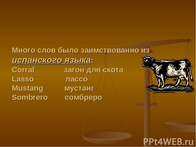 Много слов было заимствованно из испанского языка: Corral загон для скота Lasso лассо Mustang мустанг Sombrero сомбреро