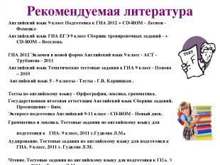 Рекомендуемая литература Английский язык 9 класс Подготовка к ГИА 2012 + CD-ROM