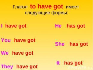 Глагол to have got имеет следующие формы: I have got You have got We have got Th