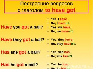 Построение вопросов с глаголом to have got Have you got a ball? Have they got a