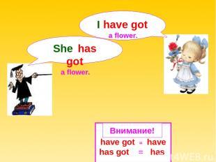 have got = have has got = has She has got a flower. Внимание! I have got a flowe