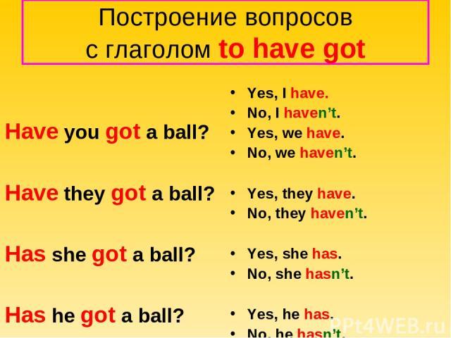 Построение вопросов с глаголом to have got Have you got a ball? Have they got a ball? Has she got a ball? Has he got a ball? Yes, I have. No, I haven't. Yes, we have. No, we haven't. Yes, they have. No, they haven't. Yes, she has. No, she hasn't. Ye…