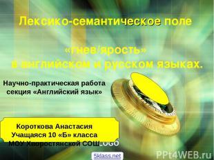 Лексико-семантическое поле «гнев/ярость» в английском и русском языках. Научно-п