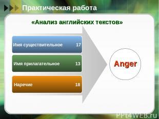 Имя существительное 17 Имя прилагательное 13 Наречие 18 Anger Практическая работ