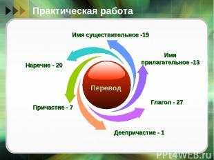 Практическая работа Имя существительное -19 Имя прилагательное -13 Глагол - 27 Д