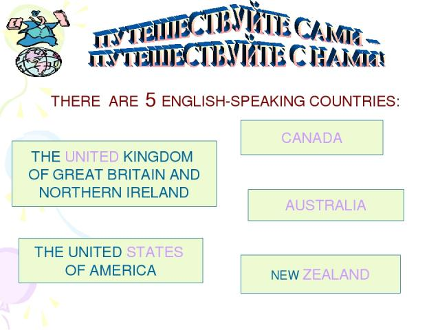 THERE ARE 5 ENGLISH-SPEAKING COUNTRIES: THE UNITED KINGDOM OF GREAT BRITAIN AND NORTHERN IRELAND THE UNITED STATES OF AMERICA CANADA AUSTRALIA NEW ZEALAND