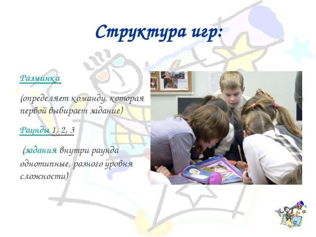 Структура игр: Разминка (определяет команду, которая первой выбирает задание) Раунды 1, 2, 3 (задания внутри раунда однотипные, разного уровня сложности)