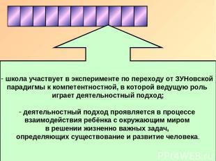 школа участвует в эксперименте по переходу от ЗУНовской парадигмы к компетентнос