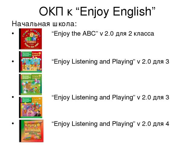 """ОКП к """"Enjoy English"""" Начальная школа: """"Enjoy the ABC"""" v 2.0 для 2 класса """"Enjoy Listening and Playing"""" v 2.0 для 3 класса """"Enjoy Listening and Playing"""" v 2.0 для 3 класса """"Enjoy Listening and Playing"""" v 2.0 для 4 класса Интерактивные плакаты для 2-…"""