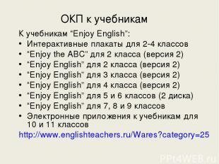 """ОКП к учебникам К учебникам """"Enjoy English"""": Интерактивные плакаты для 2-4 класс"""