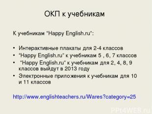 """ОКП к учебникам К учебникам """"Happy English.ru"""": Интерактивные плакаты для 2-4 кл"""