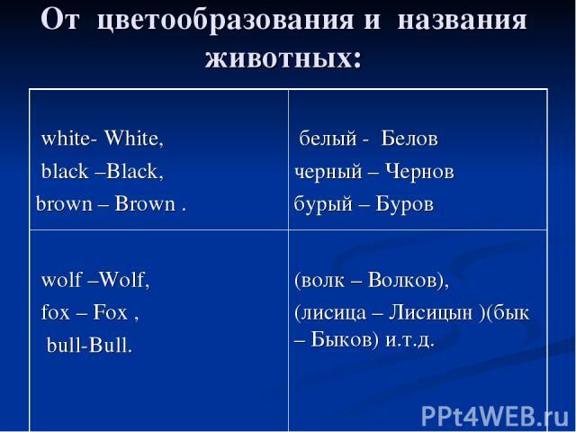 От цветообразования и названия животных: white- White, black –Black, brown – Brown . белый - Белов черный – Чернов бурый – Буров wolf –Wolf, fox – Fox , bull-Bull. (волк – Волков), (лисица – Лисицын )(бык – Быков) и.т.д.