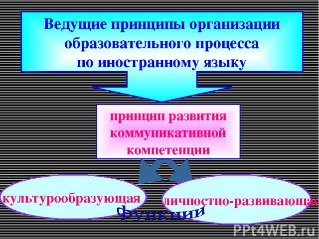 Ведущие принципы организации образовательного процесса по иностранному языку культурообразующая личностно-развивающая принцип развития коммуникативной компетенции