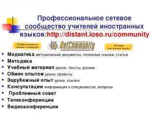 Профессиональное сетевое сообщество учителей иностранных языков: http://distant.
