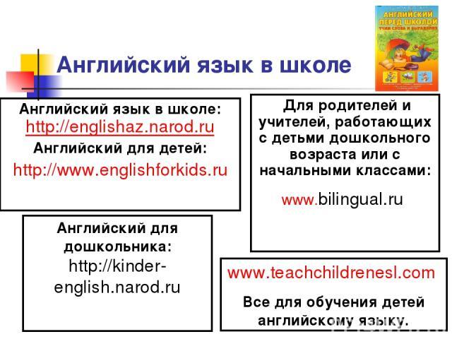 Английский язык в школе Английский язык в школе: http://englishaz.narod.ru Английский для детей: http://www.englishforkids.ru Для родителей и учителей, работающих с детьми дошкольного возраста или с начальными классами: www.bilingual.ru Английский …