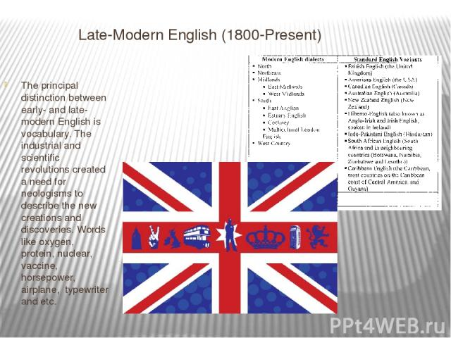 Late-Modern English (1800-Present) The principal distinction between early- and late-modern English is vocabulary. The industrial and scientific revolutions created a need for neologisms to describe the new creations and discoveries. Words like oxyg…