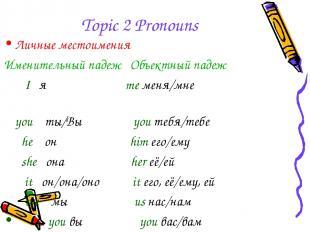 Topic 2 Pronouns Личные местоимения Именительный падеж Объектный падеж I я me ме