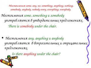 Местоимения some, any, no, something, anything, nothing, somebody, anybody, nobo