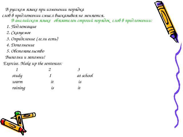 В русском языке при изменении порядка слов в предложении смысл высказывая не меняется. В английском языке обязателен строгий порядок слов в предложении: 1. Подлежащие 2. Сказуемое 3. Определение ( если есть) 4. Дополнение 5. Обстоятельство Выполни и…