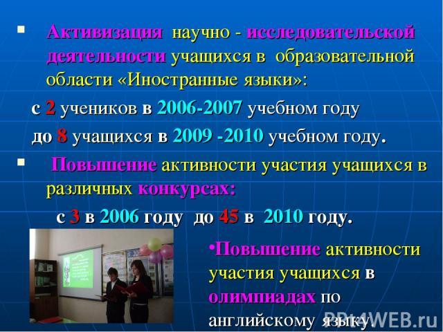 Активизация научно - исследовательской деятельности учащихся в образовательной области «Иностранные языки»: с 2 учеников в 2006-2007 учебном году до 8 учащихся в 2009 -2010 учебном году. Повышение активности участия учащихся в различных конкурсах: с…