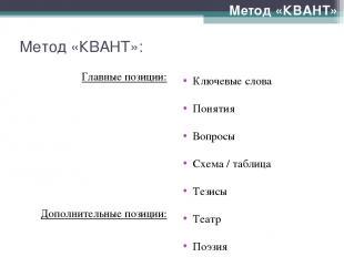 Метод «КВАНТ»: Главные позиции: Дополнительные позиции: Метод «КВАНТ» Ключевые с