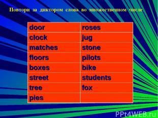 Повтори за диктором слова во множественном числе. door roses clock jug matches s