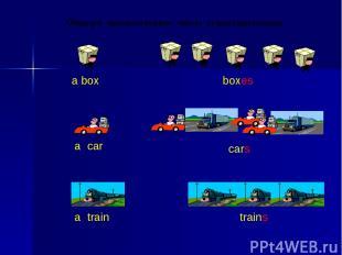 a box boxes a car cars a train trains Образуй множественное число существительны