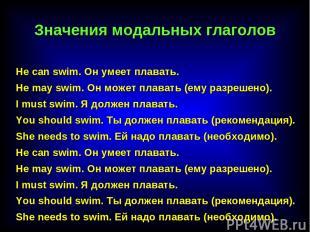 He саn swim. Он умеет плавать. He may swim. Он может плавать (ему разрешено). I