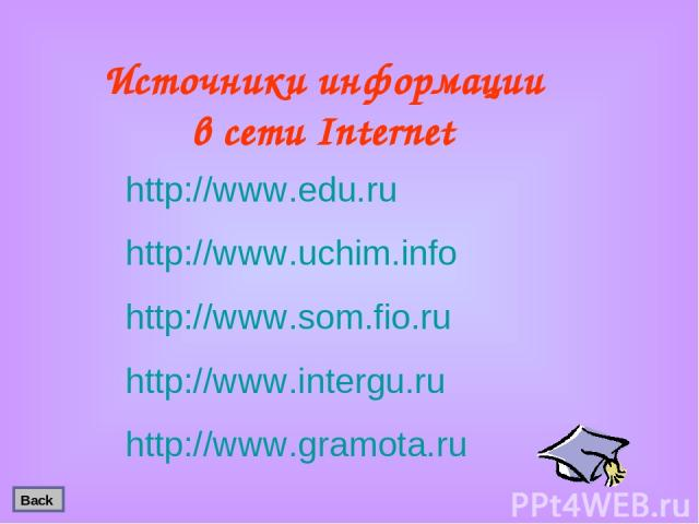 Источники информации в сети Internet http://www.edu.ru http://www.uchim.info http://www.som.fio.ru http://www.intergu.ru http://www.gramota.ru Back