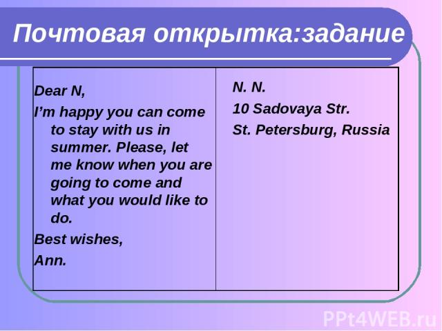 Почтовая открытка:задание Dear N, I'm happy you can come to stay with us in summer. Please, let me know when you are going to come and what you would like to do. Best wishes, Ann. N. N. 10 Sadovaya Str. St. Petersburg, Russia