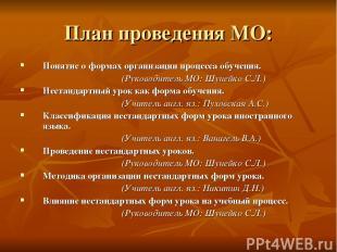 План проведения МО: Понятие о формах организации процесса обучения. (Руководител