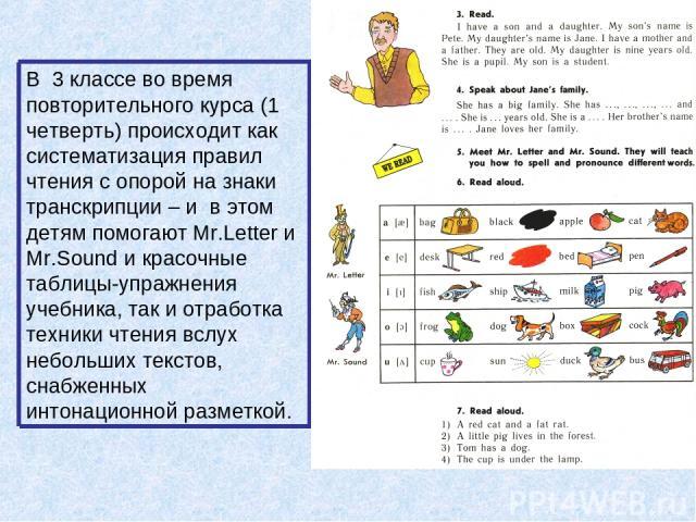 В 3 классе во время повторительного курса (1 четверть) происходит как систематизация правил чтения с опорой на знаки транскрипции – и в этом детям помогают Mr.Letter и Mr.Sound и красочные таблицы-упражнения учебника, так и отработка техники чтения …