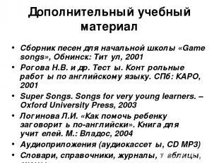 Дополнительный учебный материал Сборник песен для начальной школы «Game songs»,