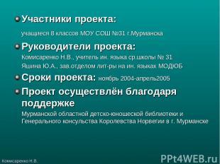 Участники проекта: учащиеся 8 классов МОУ СОШ №31 г.Мурманска Руководители проек