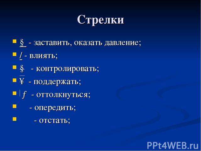 Cтрелки ↓ - заставить, оказать давление; / - влиять; ↓ - контролировать; ↑ - поддержать; → - оттолкнуться; ⇌ - опередить; ⇋ - отстать;