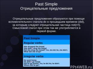 Past Simple Отрицательные предложения Отрицательные предложения образуются при п