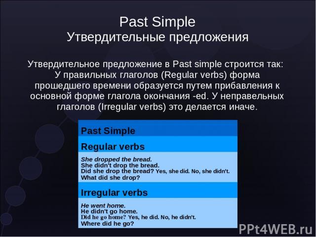 Past Simple Утвердительные предложения Утвердительное предложение в Past simple строится так: У правильных глаголов (Regular verbs) форма прошедшего времени образуется путем прибавления к основной форме глагола окончания -ed. У неправельных глаголов…