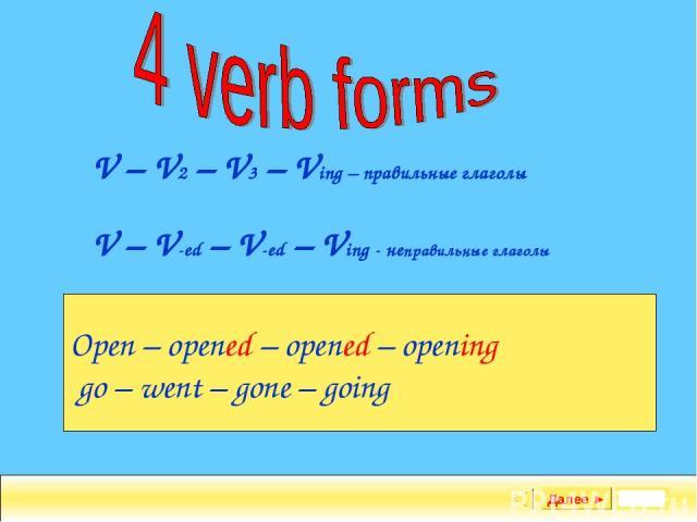Задание Далее ► V – V2 – V3 – Ving – правильные глаголы V – V-ed – V-ed – Ving - неправильные глаголы Open – opened – opened – opening go – went – gone – going