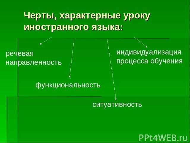 Черты, характерные уроку иностранного языка: речевая направленность функциональность ситуативность индивидуализация процесса обучения