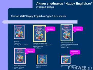 """Старшая школа Состав УМК """"Happy English.ru"""" для 11-го класса Линия учебников """"Ha"""