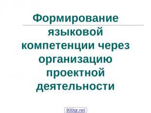 Формирование языковой компетенции через организацию проектной деятельности 900ig