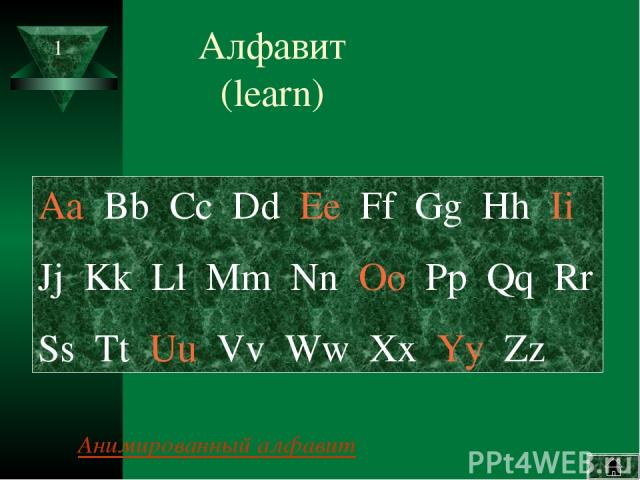 Алфавит (learn) Aa Bb Cc Dd Ee Ff Gg Hh Ii Jj Kk Ll Mm Nn Oo Pp Qq Rr Ss Tt Uu Vv Ww Xx Yy Zz Анимированный алфавит 1