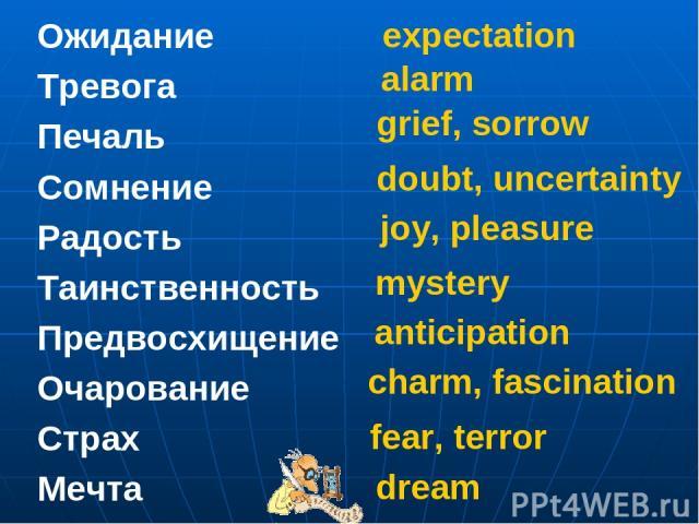 Ожидание Тревога Печаль Сомнение Радость Таинственность Предвосхищение Очарование Страх Мечта expectation alarm grief, sorrow doubt, uncertainty joy, pleasure mystery anticipation charm, fascination fear, terror dream