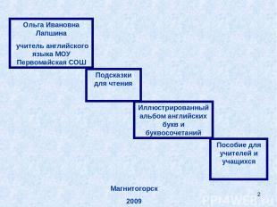 * Ольга Ивановна Лапшина учитель английского языка МОУ Первомайская СОШ Подсказк