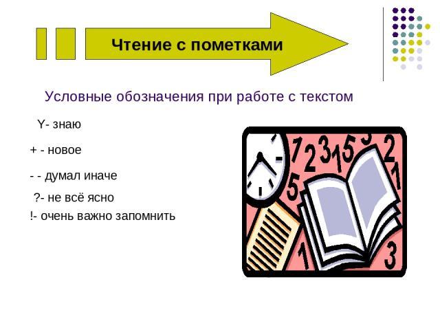 Чтение с пометками Условные обозначения при работе с текстом Y- знаю + - новое - - думал иначе ?- не всё ясно !- очень важно запомнить