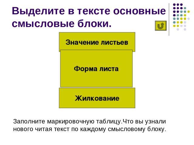 Выделите в тексте основные смысловые блоки. Значение листьев Жилкование Форма листа Заполните маркировочную таблицу.Что вы узнали нового читая текст по каждому смысловому блоку.
