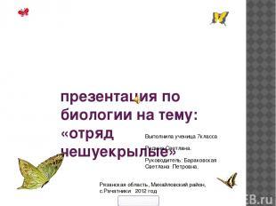 презентация по биологии на тему: «отряд чешуекрылые» Выполнила ученица 7класса Р