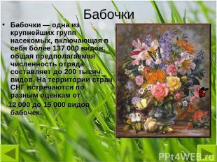 Бабочки Бабочки — одна из крупнейших групп насекомых, включающая в себя более 13