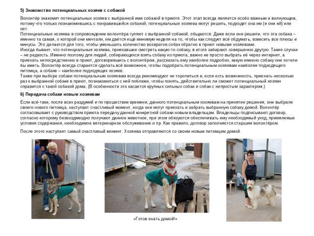 5) Знакомство потенциальных хозяев с собакой Волонтёр знакомит потенциальных хозяев с выбранной ими собакой в приюте. Этот этап всегда является особо важным и волнующим, потому что только познакомившись с понравившейся собакой, потенциальные хозяева…